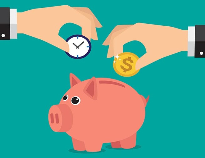 Save time and money with a piggy bank. Illustration in vectors.